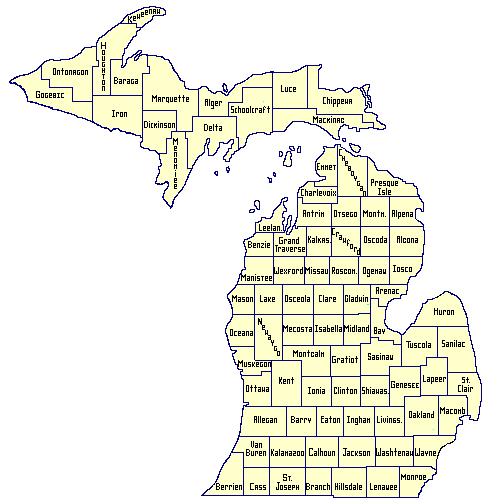 Workers Compensation Information Michigan Unemployment - Map of the state of michigan